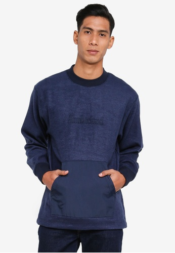 Timberland navy Mixed Media Irregular Block Sweatshirt 09FE3AA86BA4BDGS_1