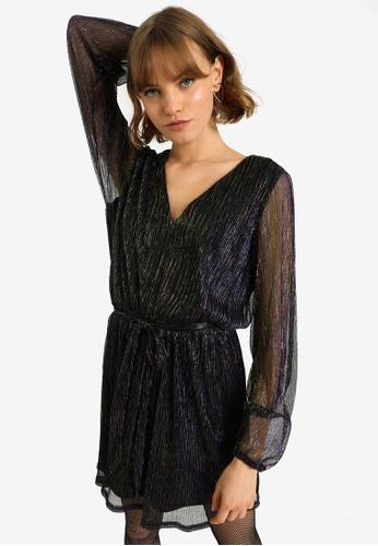 PIMKIE black Metallic V-Neck Dress 782FCAA15F536CGS_1