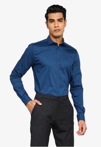 !Solid navy Long Sleeve Shirt C8F56AA3278017GS_1
