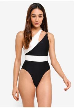 cd5ab2b1b3cb0 Miss Selfridge black Black Textured Asymmetric Swimsuit 4715EUSBF3F64FGS 1