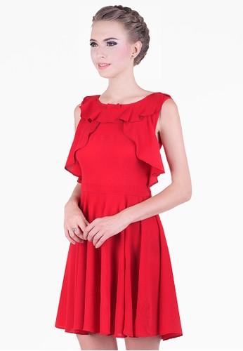 Emionette red Carol Ruffle Dress EM909AA12VGLID_1