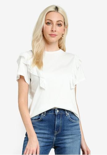 Pepe Jeans white Fancy Ruffle Sleeve Top B7A89AA02133D9GS_1