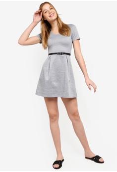 ZALORA BASICS grey Basic Scoop Neck Fit And Flare Dress With Belt  972E8AA957DD1AGS 1 2ad9f1f02