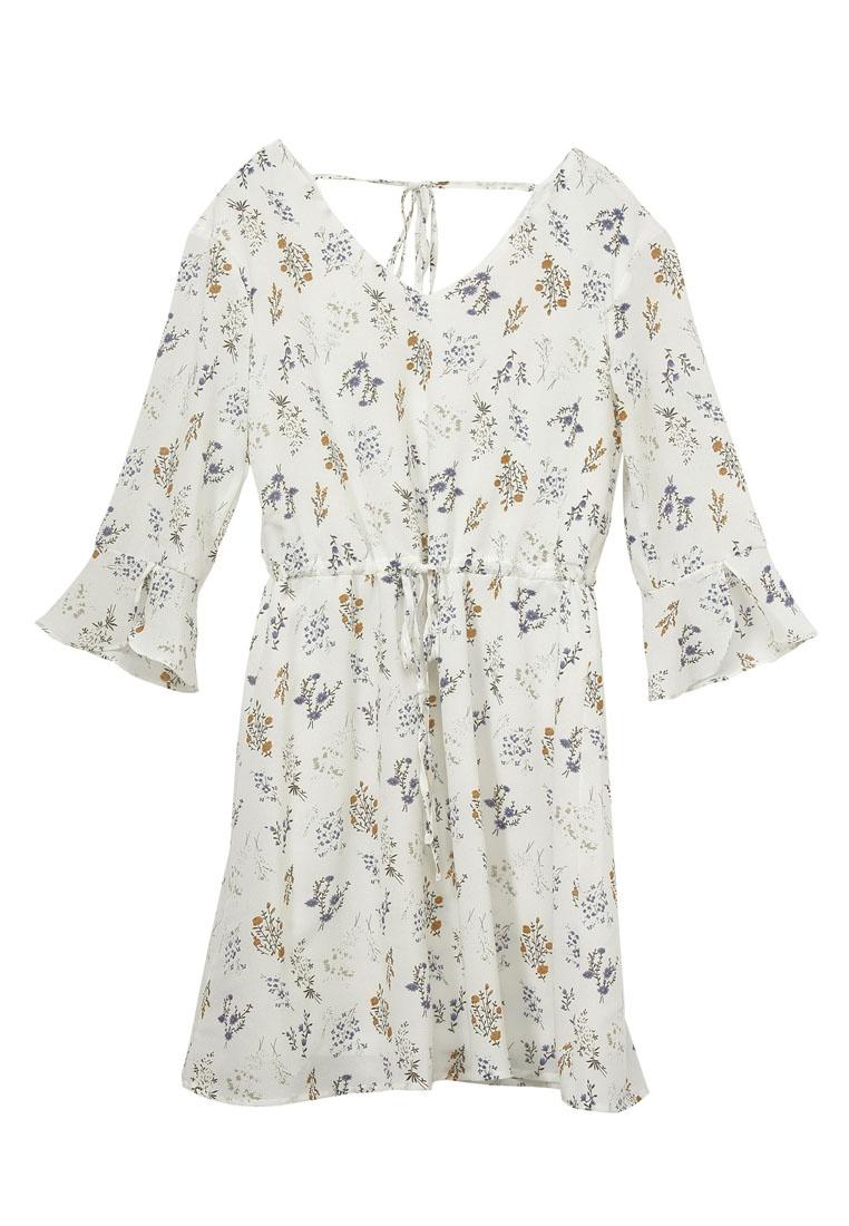 Printed Floral Ribbon White YOCO Dress qAwdARFPx