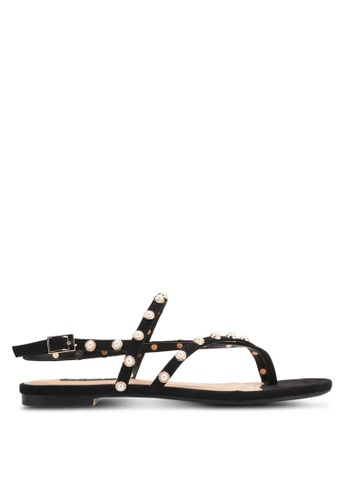 ZALORA black Pearl Studded Sandals 971BDSHEFE2C5AGS_1