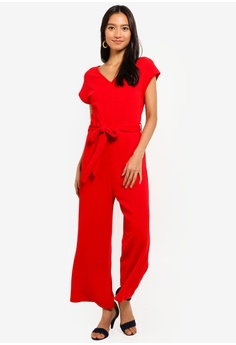 e4d62f1fd7c Mela London red Capped Sleeve Culotte Jumpsuit 85B90AAC8AC6F3GS 1