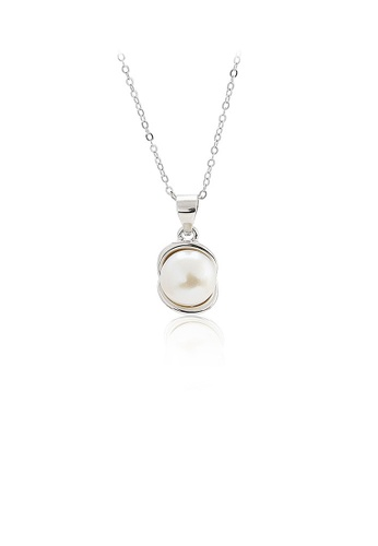 Glamorousky white 925 Sterling Silver Simple Temperament Geometric Freshwater Pearl Pendant with Necklace 0EB88AC1CAB1D6GS_1
