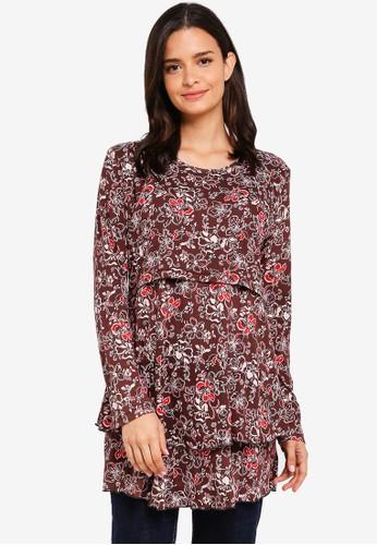 Aqeela Muslimah Wear brown Layered Nursing Top 40A4BAA3B5CF0DGS_1