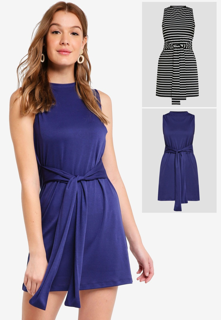 Mini BASICS pack Navy with 2 Waist Basic ZALORA Tie White Dress Black Stripe qw6xxg4Sn