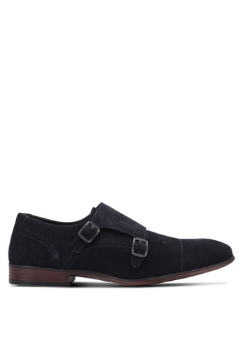 Topman navy Navy Suede Monk Shoes TO413SH0S7YHMY_1