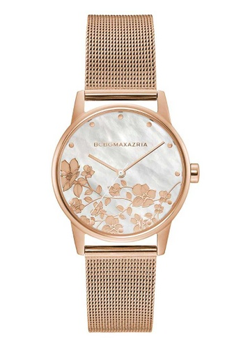 BCBG pink BCBGMAXAZRIA Rose Gold and Pink Stainless Steel Mesh Watch 15666AC67F321BGS_1