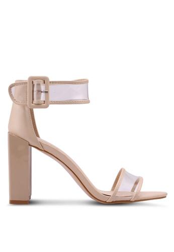 Public Desire beige Cannes Perspex Straps Detail Heels 2859ESHBBCC434GS_1