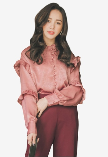 Yoco pink Frill Layer Sleeves Blouse 60DA6AA50F81C3GS_1