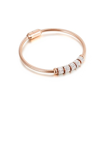 Glamorousky white Simple Temperament Plated Rose Gold Transfer Beads Cubic Zirconia 316L Stainless Steel Bangle 2F733ACC018920GS_1