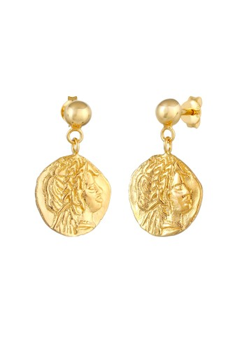 Elli Germany gold Perhiasan Wanita Perak Asli - Silver Anting Plug Coin Antique Lapis Emas BA514AC60EFC56GS_1