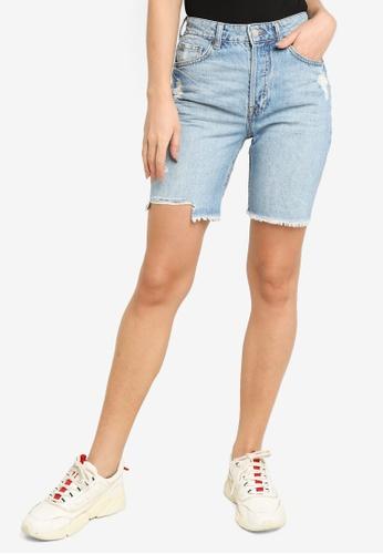 H&M blue High Waist Bermuda Shorts 17E2EAAE49CCAEGS_1