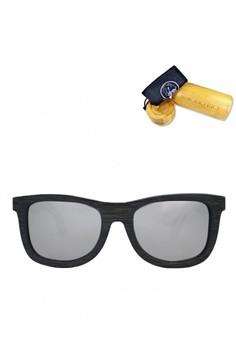 Black Bamboo Frame, Silver Revo Lens, 145mm Wooden Sunglasses