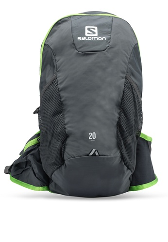 Salomon grey and green Trail 20 Backpack A0CF6ACDD52E74GS_1