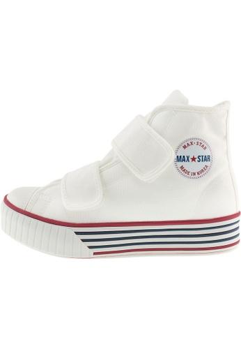 Maxstar 白色 新款韩国鞋C30-2Band時尚帆布布混合女白色 US Women Size MA345SH37HDITW_1