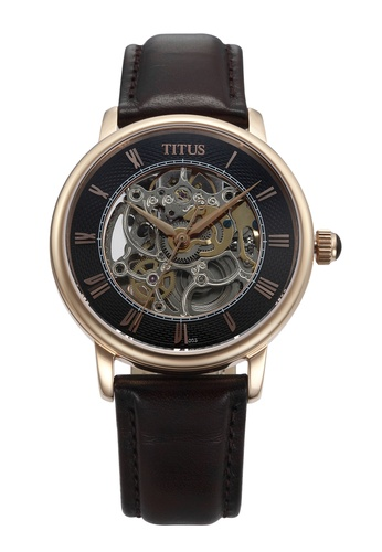Solvil et Titus black and brown and gold Men's Skeleton Mechanical Watch SO598AC81ZUCSG_1