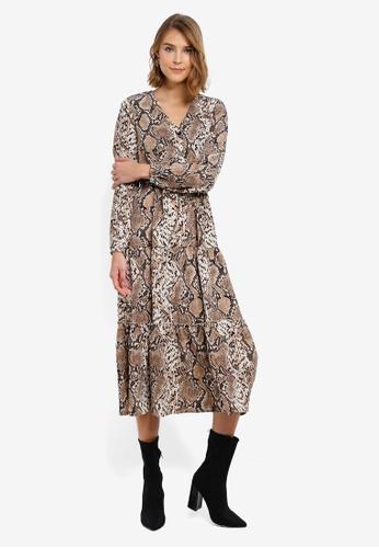 e0651e213ec76 Shop Vero Moda Juliet Snake Long Sleeve Dress Online on ZALORA Philippines