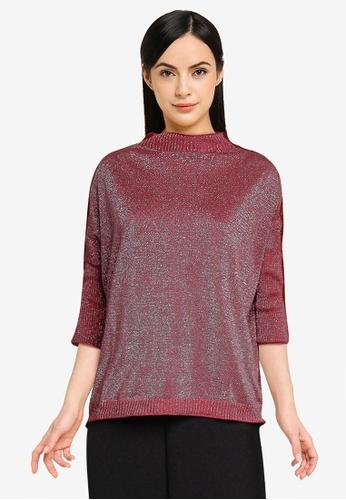 LC Waikiki red Stripe Shiny Look Thin Knit Sweater 0D6A0AACAE688CGS_1