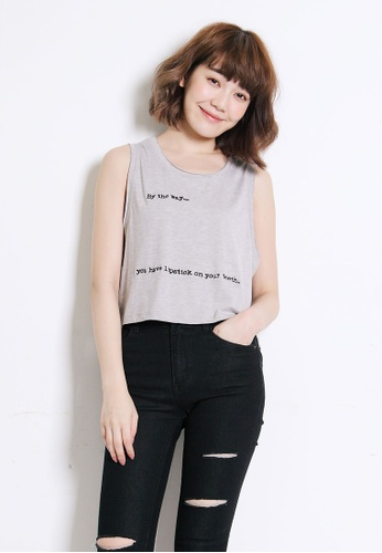 Tokichoi grey Embroidered Tank Top TO550AA0S1HWMY_1