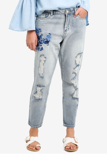 ONLY blue Tonni Boyfriend Embroidery Denim Jeans 13FC3AA58651A5GS_1