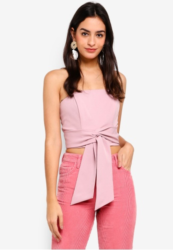Miss Selfridge pink Pink Tie Front Bandeau Top 1A65CAA7385C4DGS_1