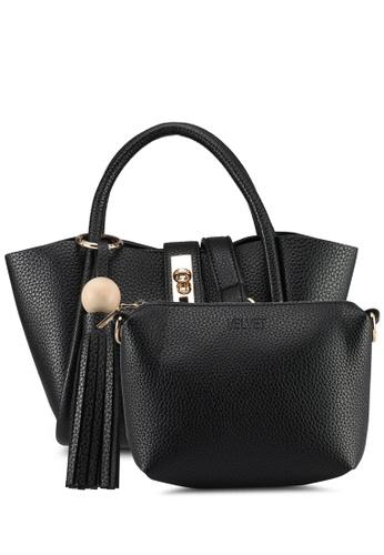 Velvet black Small Top Handle With Tassle Detail C8627AC13443A8GS_1