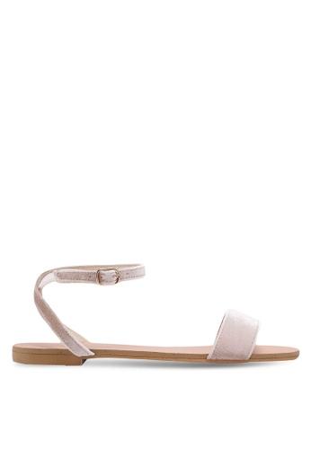 Velvet 米褐色 一字帶簡約涼鞋 F0EB0SH9368749GS_1