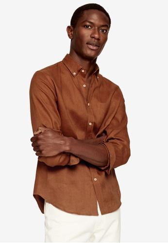 MANGO Man orange 100% Linen Slim Fit Shirt 557F0AA4C59B8BGS_1