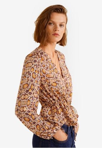 Mango brown Snake Print Blouse A457EAA037D5A3GS_1