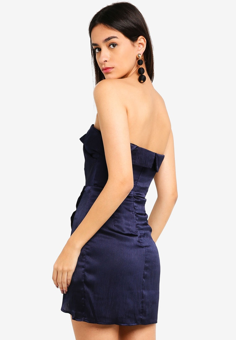 Foldover Surplice Bustier Neck INDIKAH Navy Dress T1pTrx