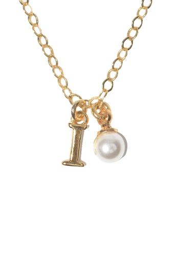 PSYNDROME gold Personalised Initial Letter Alphabet with Pearl Necklace - I F06EEAC5619E48GS_1