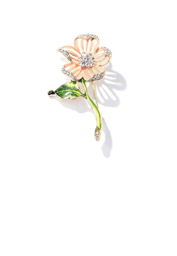 Glamorousky white Fashion and Elegant Plated Gold Hollow Flower Brooch with Cubic Zirconia 19871AC868BF5CGS_1