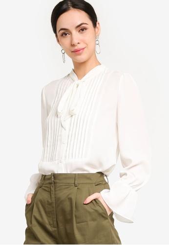 ZALORA WORK white Long Sleeves Shirt With Pintucks 89F22AA03ED2C6GS_1
