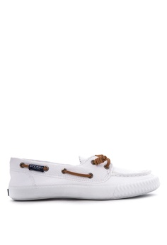 b44c45c7c77 Sperry white Sayel Away Washed Canvas Boat Shoes SP132SH32EXVPH 1