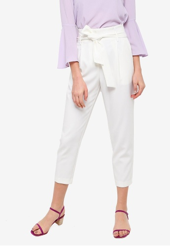 FORCAST white Karen Tie Waist Trousers 8F22BAAC248967GS_1