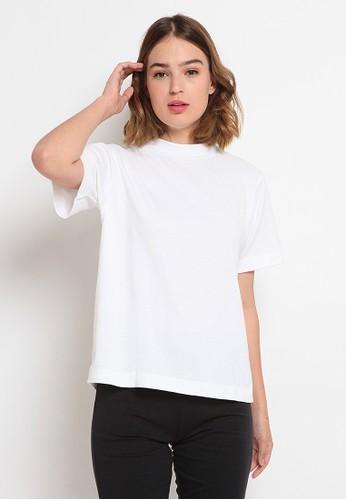 et cetera white Mock Neck Short Sleeve Blouse 42122AA5F0ECBCGS_1