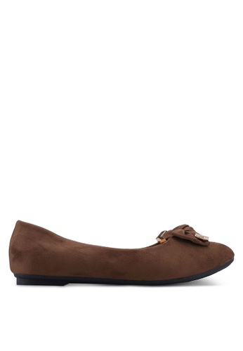 Noveni brown Round Toe Flats With Bow 2FCC9SH9F24F31GS_1