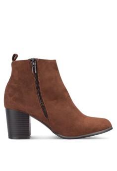 【ZALORA】 側拉鍊麂皮粗跟短靴