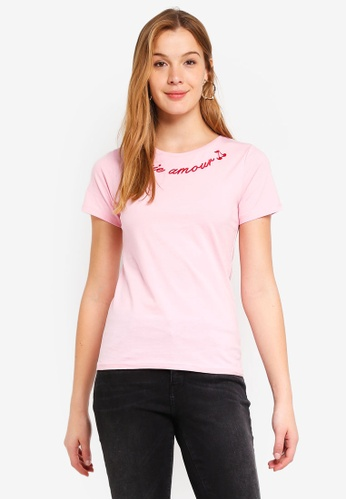 Dorothy Perkins 粉紅色 Pink Cherie Amour Motif T-Shirt D80A7AABF92F45GS_1