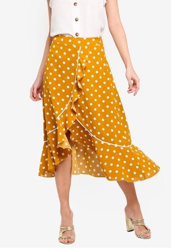 ZALORA 黃色 不規則荷葉飾裙 2DE0FAA9E90F73GS_1