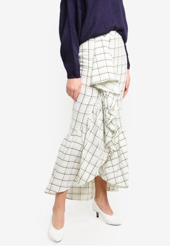 bYSI white Grid Ruffle Drape Skirt 841A0AA1460C86GS_1