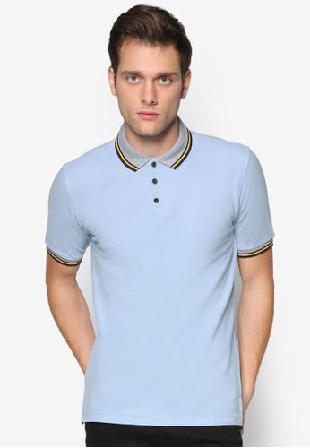 esprit tst條紋邊飾修身POLO 衫, 服飾, Polo衫