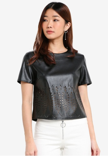 Something Borrowed black Laser Cut Shell Top DE829AA86088FAGS_1