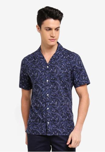 MANGO Man 藍色 短袖印花襯衫 656CFAA7C3A5B9GS_1