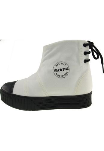 Maxstar 白色 新款韩国鞋C30-BackLace時尚帆布布混合女白色 US Women Size MA345SH48HCXTW_1