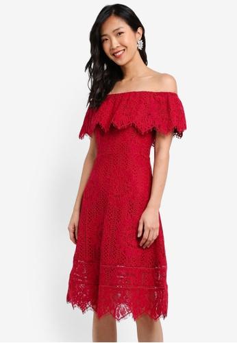 ZALORA red Lace Off Shoulder Midi Dress 6C3C8AADACD870GS_1